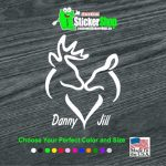 Buck and Doe Heart With Names Hunting Window Decal Sticker