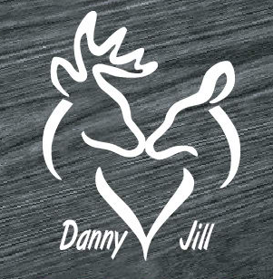 buck and doe heart with names decal sticker