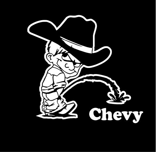 Calvin pissing on chevy logo layout