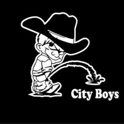 Calvin Piss On City Boy Decals