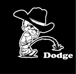 Calvin Piss On Dodge Decals