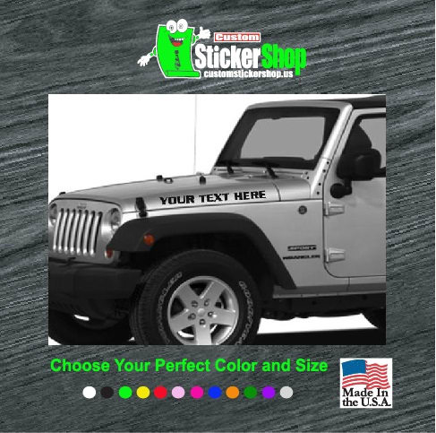Jeep hood set custom text vinyl decal stickers for Custom jeep lettering