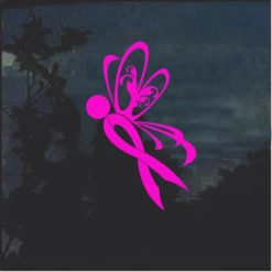 Breast Cancer Awareness Ribbon Butterfly decal sticker