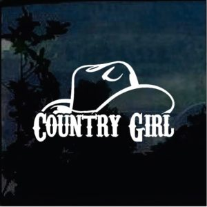 Country Girl Hat Window Decal Sticker