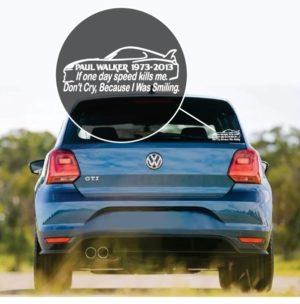 Paul Walker Speed Window Decal Sticker