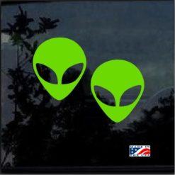 alien head pair window decal sticker