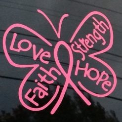 Breast Cancer Ribbon Butterfly Decal A1