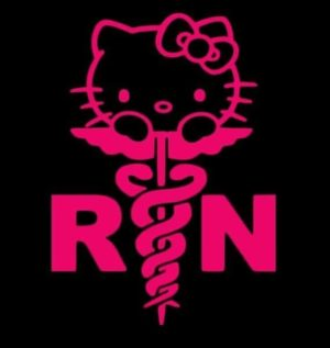 Hello Kitty Nurse RN Decal sticker