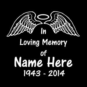 In Loving Memory Car Decals >> Angel Wings Halo In Loving Memory Window Decal Sticker