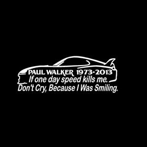 Paul Walker Speed Decal Sticker A1