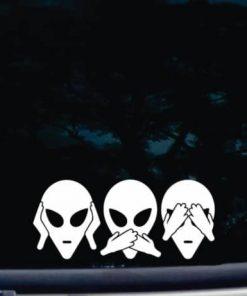 Hear Speak See no Evil Alien Decal Sticker