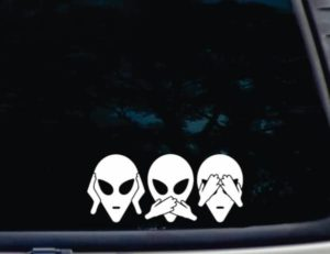 Hear Speak See no Evil Alien Decal Sticker