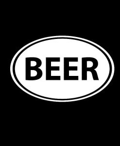 Beer Oval Funny Decal Sticker