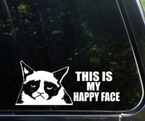 Grumpy Cat Happy Face Funny Decal