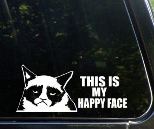 Grumpy Cat Happy Face Funny Decal