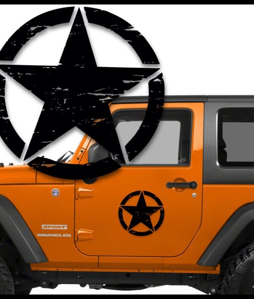 Jeep distressed star door decal set of 2