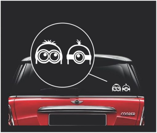 minions peeking window decal sticker