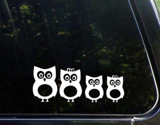 Owl Family Window Decal Sticker