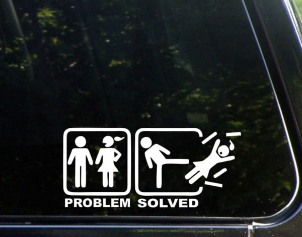 problem solved funny vinyl decal stickers