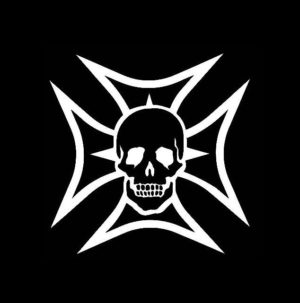 Maltese Cross and Skull decal sticker