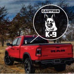 Caution k9 German Shepherd truck window decal sticker