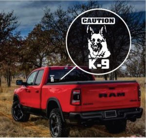 Caution k9 German Shepherd truck window decal sticker