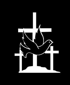 Holy Trinity Dove and Crosses Decal Sticker
