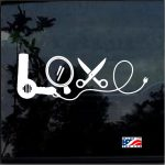 Hair Stylist Decals - Love Dryer Scissor Car Sticker