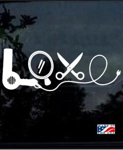 Hair Stylist Love Dryer Mirror Decal Sticker