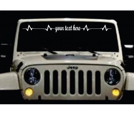 Heartbeat Love Custom Text Windshield Banner