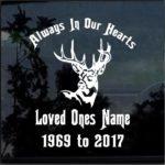 Deer Head In Loving Memory Window Decal Sticker