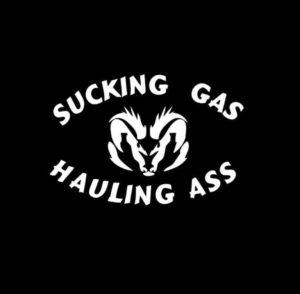 Sucking Gas Hauling Ass Dodge Truck Decal