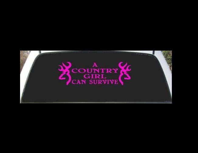 Country Girl Can Survive Rear Vinyl Decal Stickers - Car decal sticker girl