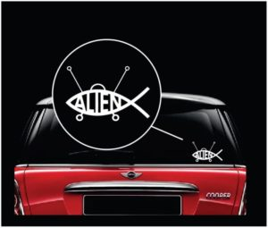 alien fish vinyl window decal sticker