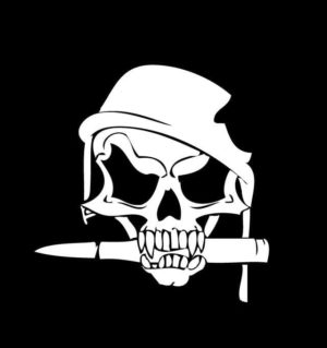 Army Skull Helmet Bullet decal sticker