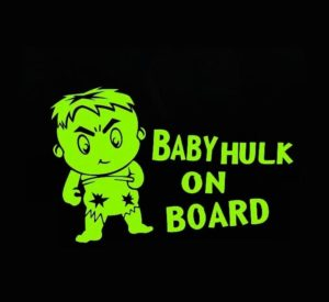 Baby Hulk on Board decal sticker