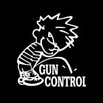 Calvin Piss on Gun Control Decal Stickers
