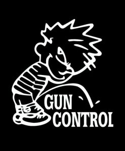 Calvin Piss on Gun Control Decal Sticker