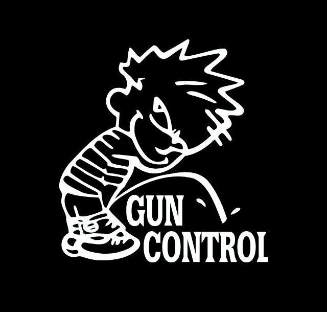 Calvin Piss on Gun Control Decal Sticker