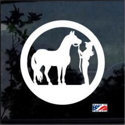 cowgirl and horse round decal sticker