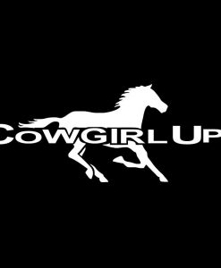 Cowgirl Up with running horse decal