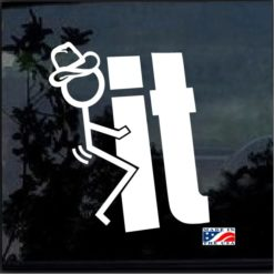 fuck it stick figure cowboy decal sticker