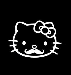 Hello kitty mustache Decal Sticker