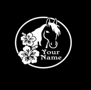 Horse with Hibiscus flower and name Decal