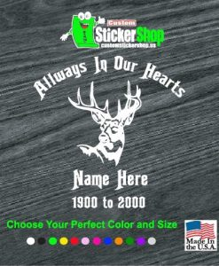 in loving memeory deer head hunter decal sticker