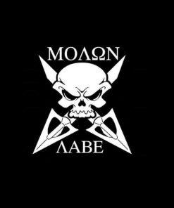 Molon Labe skull and arrows decal sticker