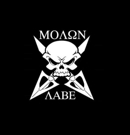 Molon Labe skull and arrows decal sticker