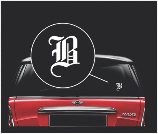old English letter initial decal sticker