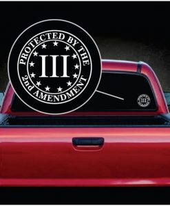 protected by 2nd amendment round decal sticker
