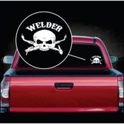 welding welder skull torch window decal sticker